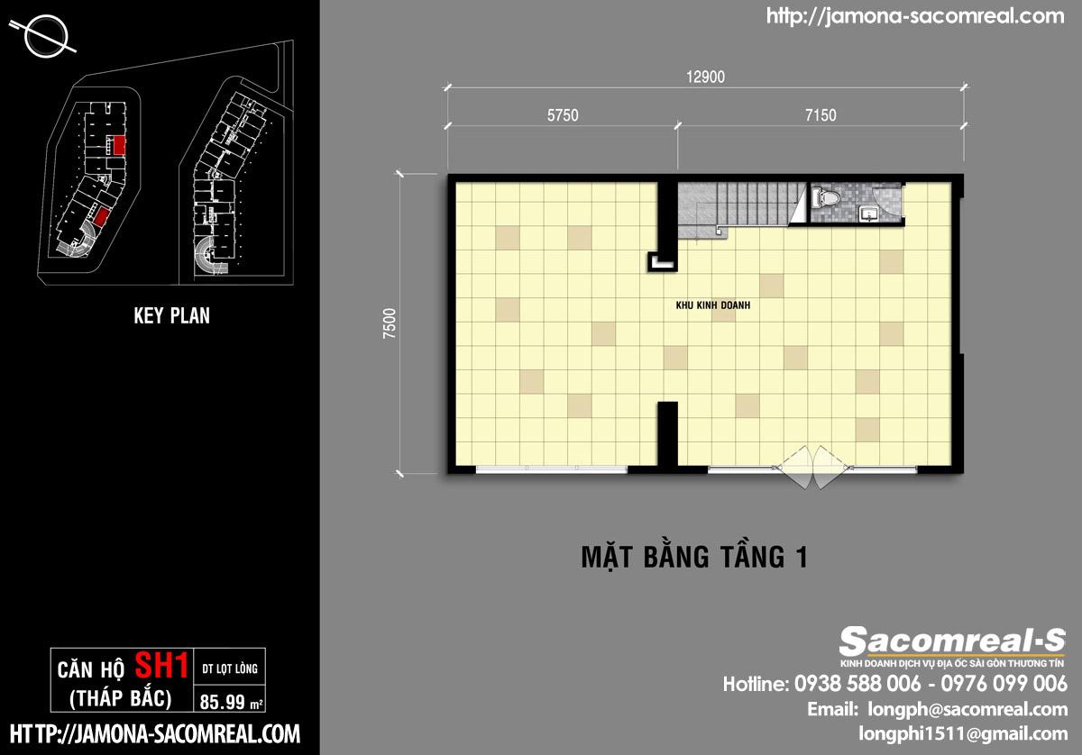 Mặt bằng tầng 1 căn shop (shophouse) SH1- tầng 1 Jamona Apartment