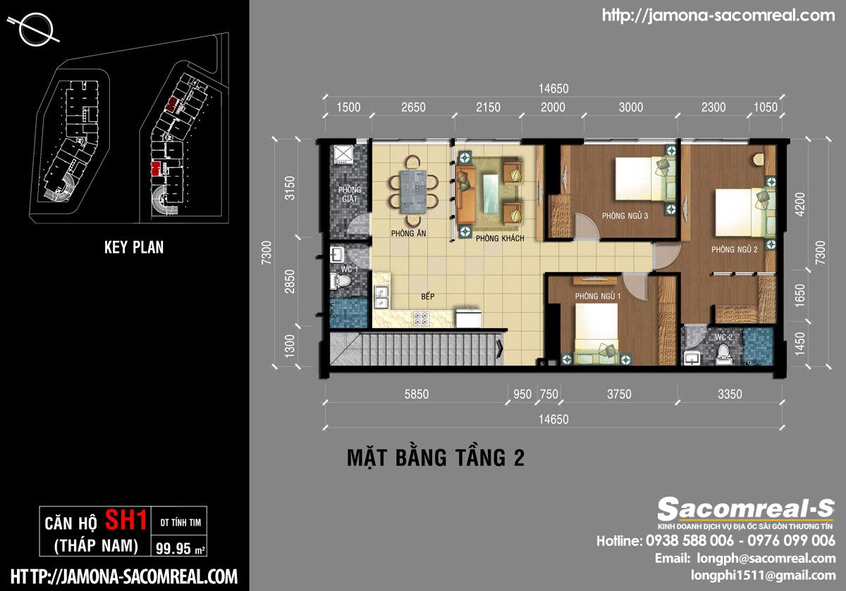 Mặt bằng tầng 2 căn shop (shophouse) SH1 Jamona Apartment THÁP NAM