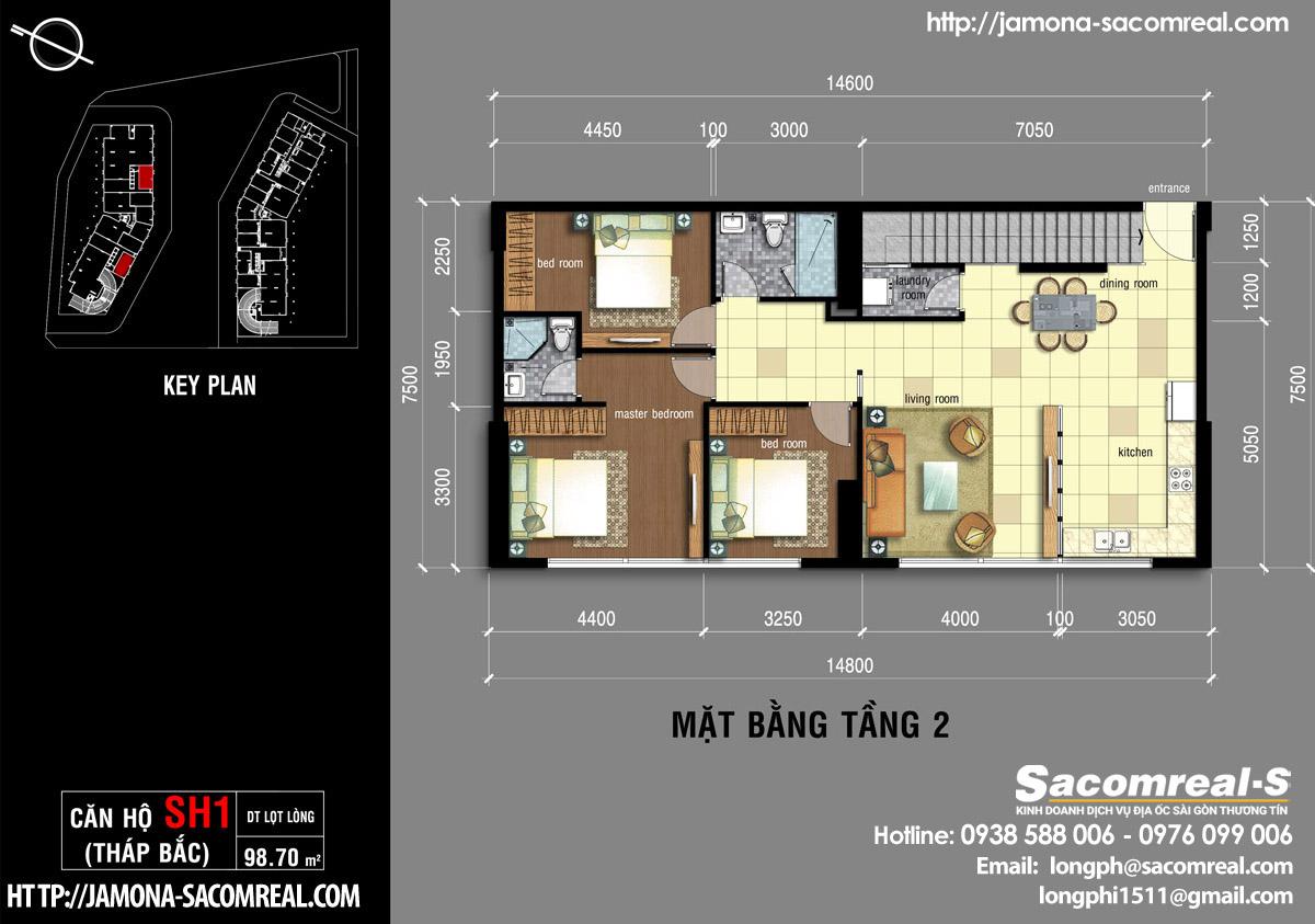 Mặt bằng tầng 2 căn shop (shophouse) SH1 Jamona Apartment