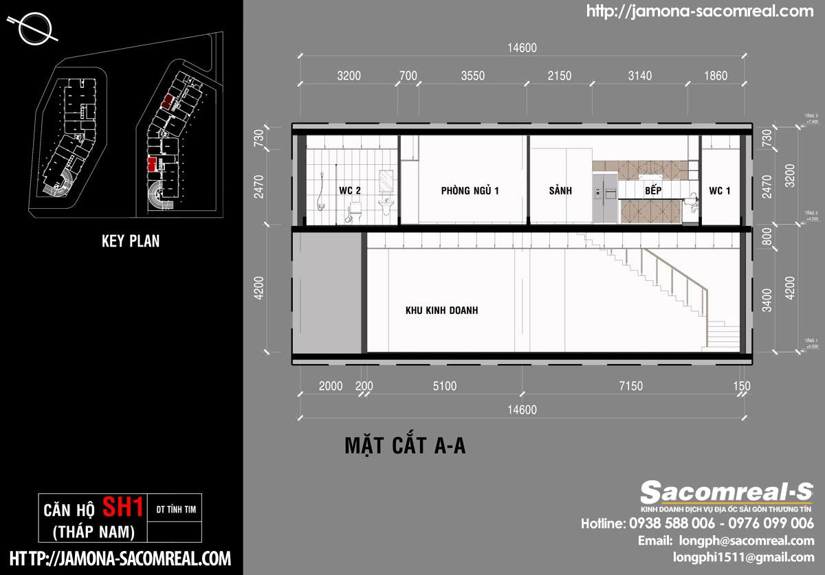 Mặt cắt A-A căn shop (shophouse) SH1 Jamona Apartment THÁP NAM M2 jamona city.