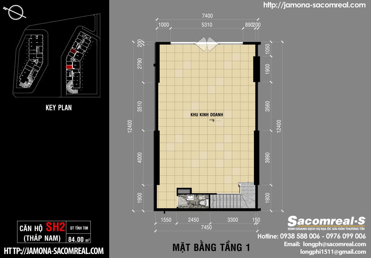 Mặt bằng tầng 1 căn shop (shophouse) SH2 Jamona Apartment THÁP NAM