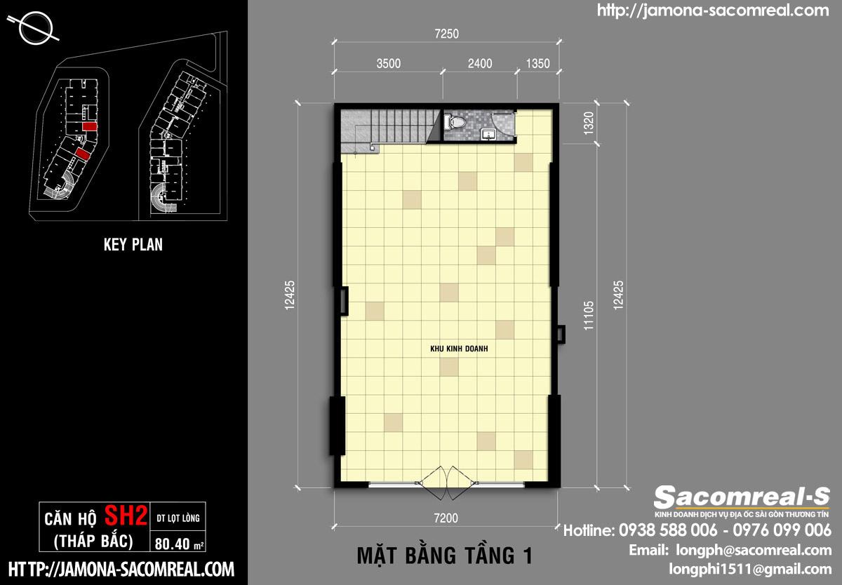 Mặt bằng tầng 1 căn shop (shophouse) SH2 Jamona Apartment - dự án Jamona City quận 7 của Sacomreal.