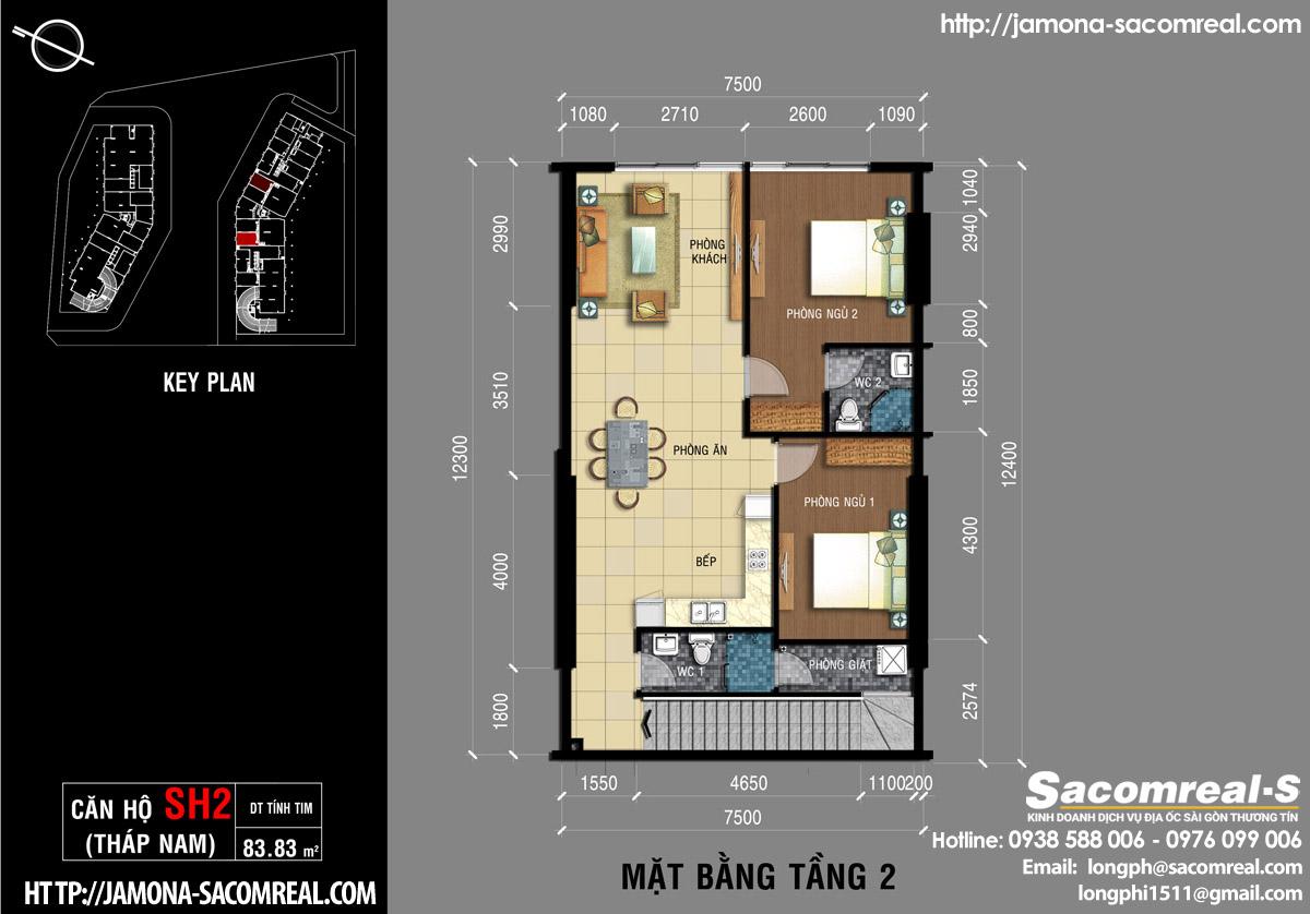 Mặt bằng tầng 2 căn shop (shophouse) SH2 Jamona Apartment THÁP NAM