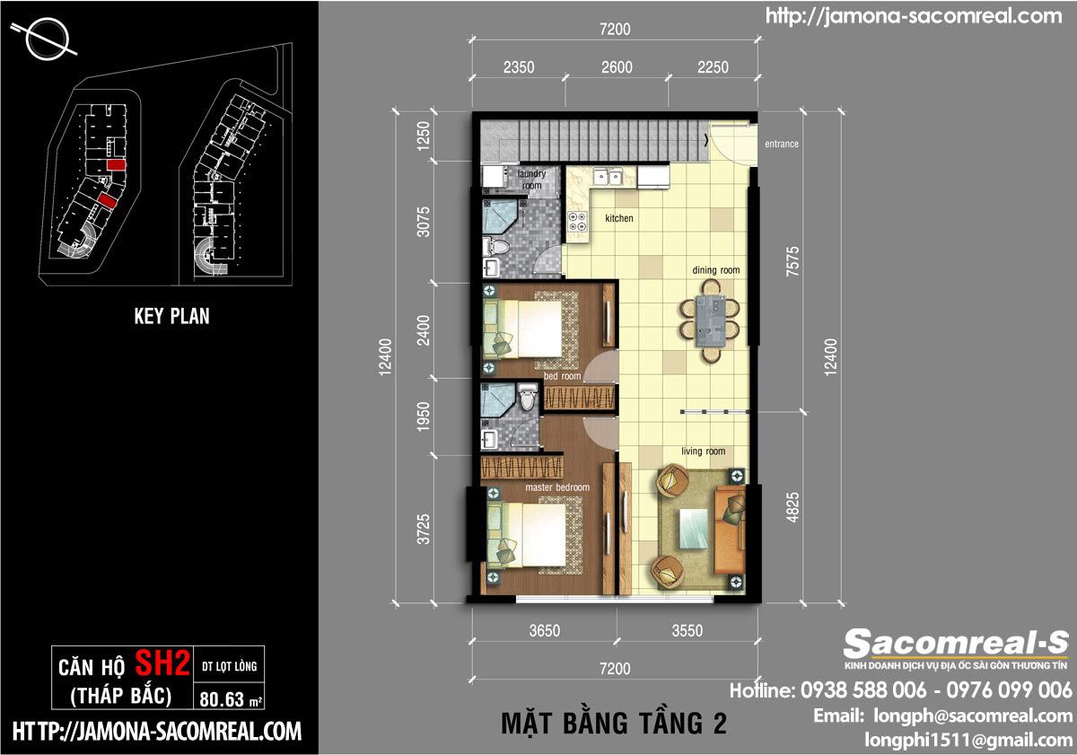 Mặt bằng tầng 2 căn shop (shophouse) SH2 Jamona Apartment