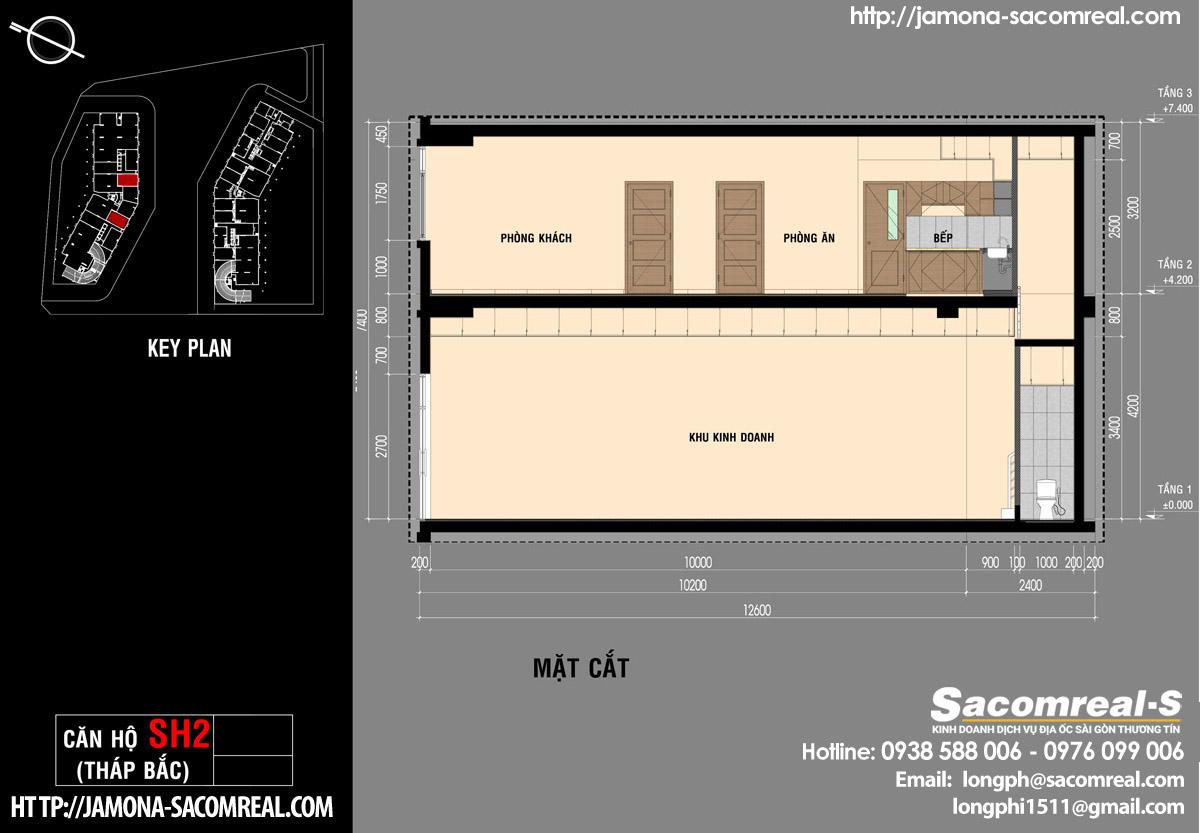 Mặt cắt căn shop (shophouse) SH2 Jamona Apartment dự án Jamona City Đào Trí Q7.