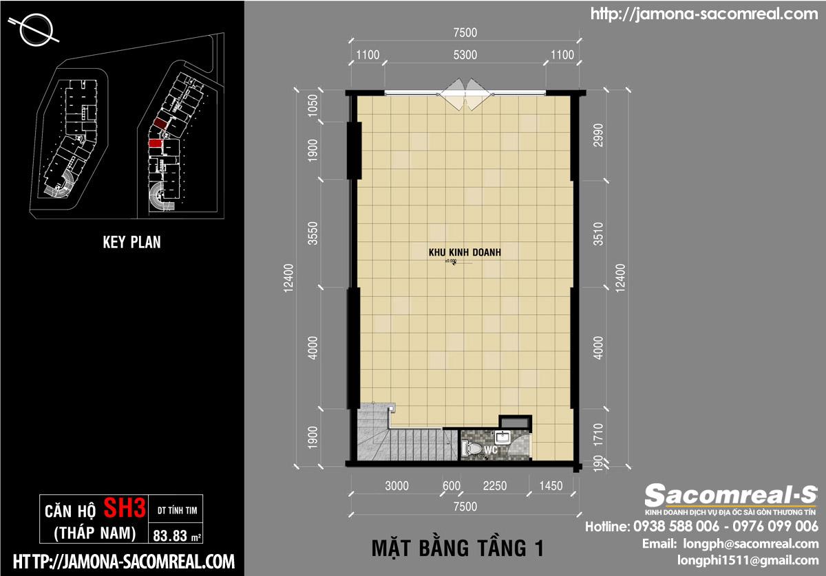 Mặt bằng tầng 1 căn shop (shophouse) SH3 Jamona Apartment THÁP NAM jamona quận 7.