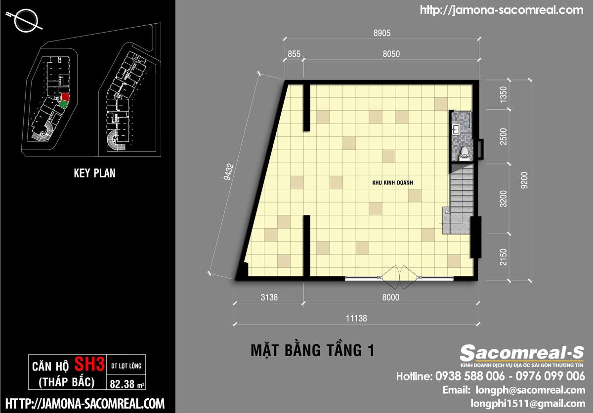 Mặt bằng tầng 1 căn shop (shophouse) SH3 Jamona Apartment