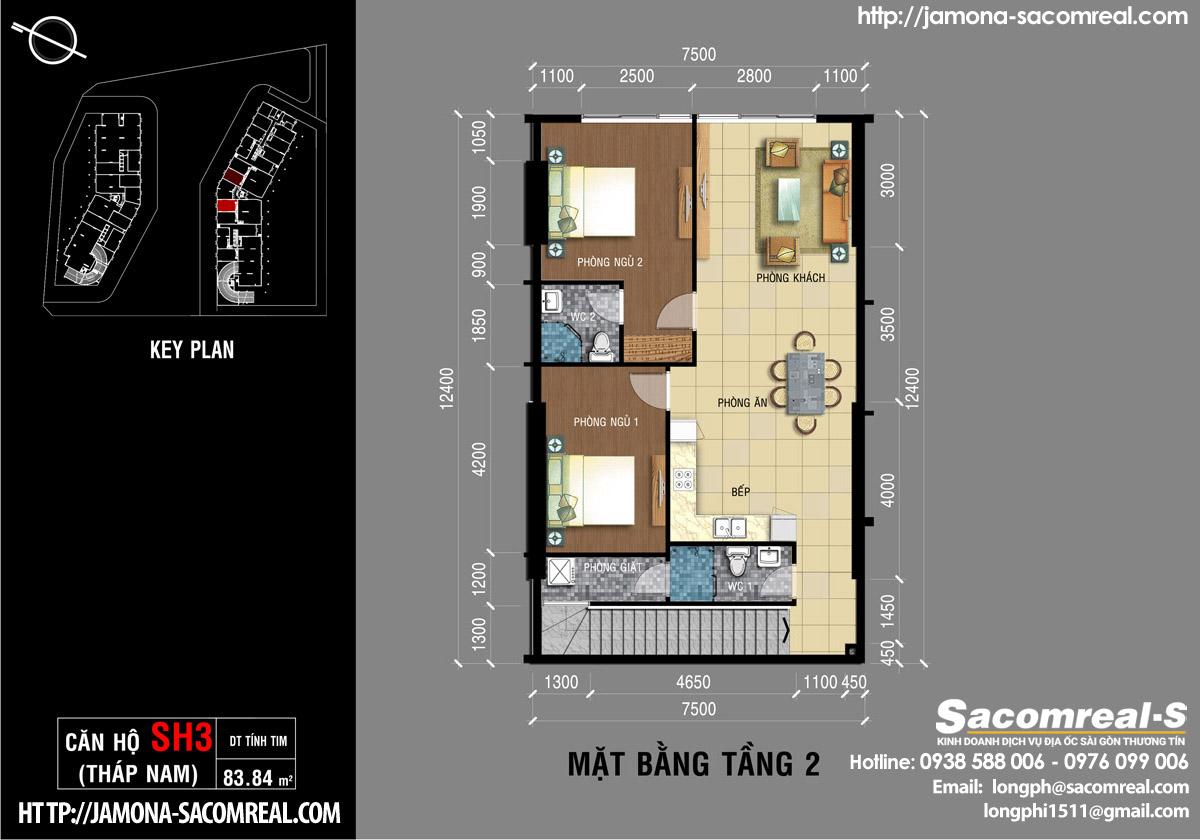 Mặt bằng tầng 2 căn shop (shophouse) SH3 Jamona Apartment THÁP NAM Jamona City Đào Trí.