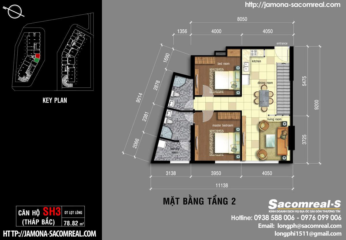 Mặt bằng tầng 2 căn shop (shophouse) SH3 Jamona Apartment quận 7.