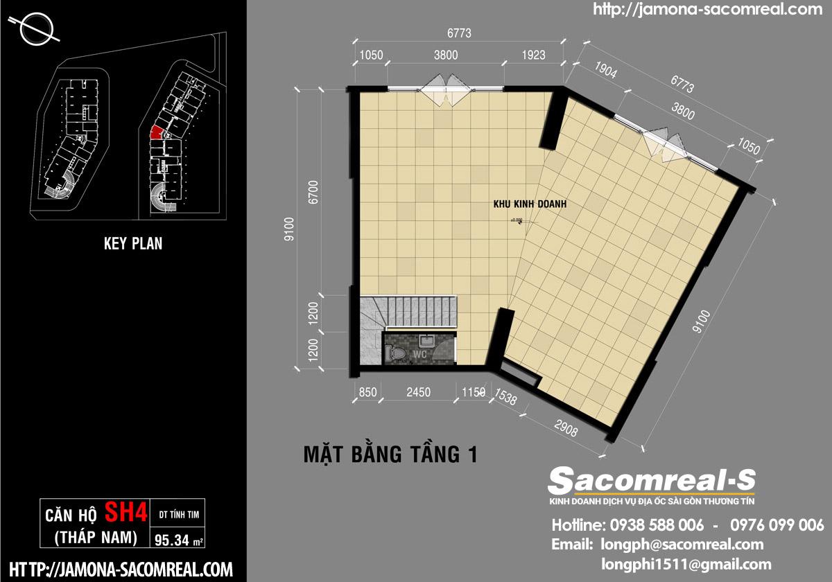 Mặt bằng tầng 1 căn shop (shophouse) SH4 Jamona Apartment THÁP NAM Jamona City.