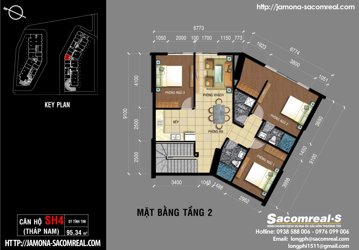 Mặt bằng tầng 2 căn shop (shophouse) SH4 Jamona Apartment THÁP NAM Jamona City.