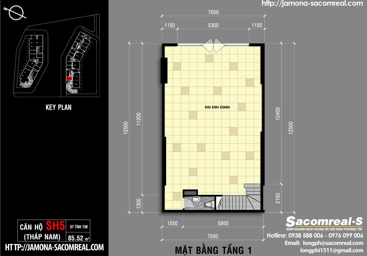 Mặt bằng tầng 1 căn shop (shophouse) SH5 Jamona Apartment THÁP NAM
