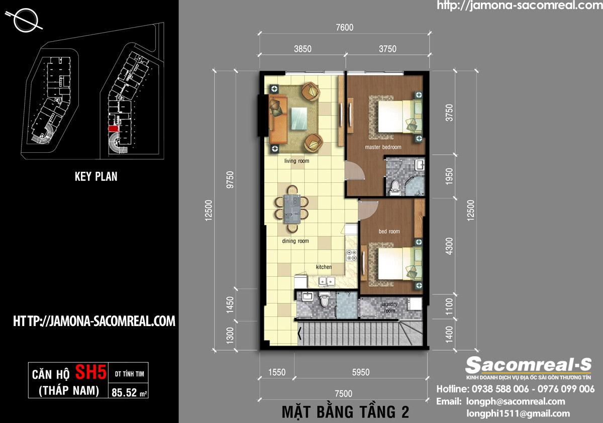 Mặt bằng tầng 2 căn shop (shophouse) SH5 Jamona Apartment THÁP NAM