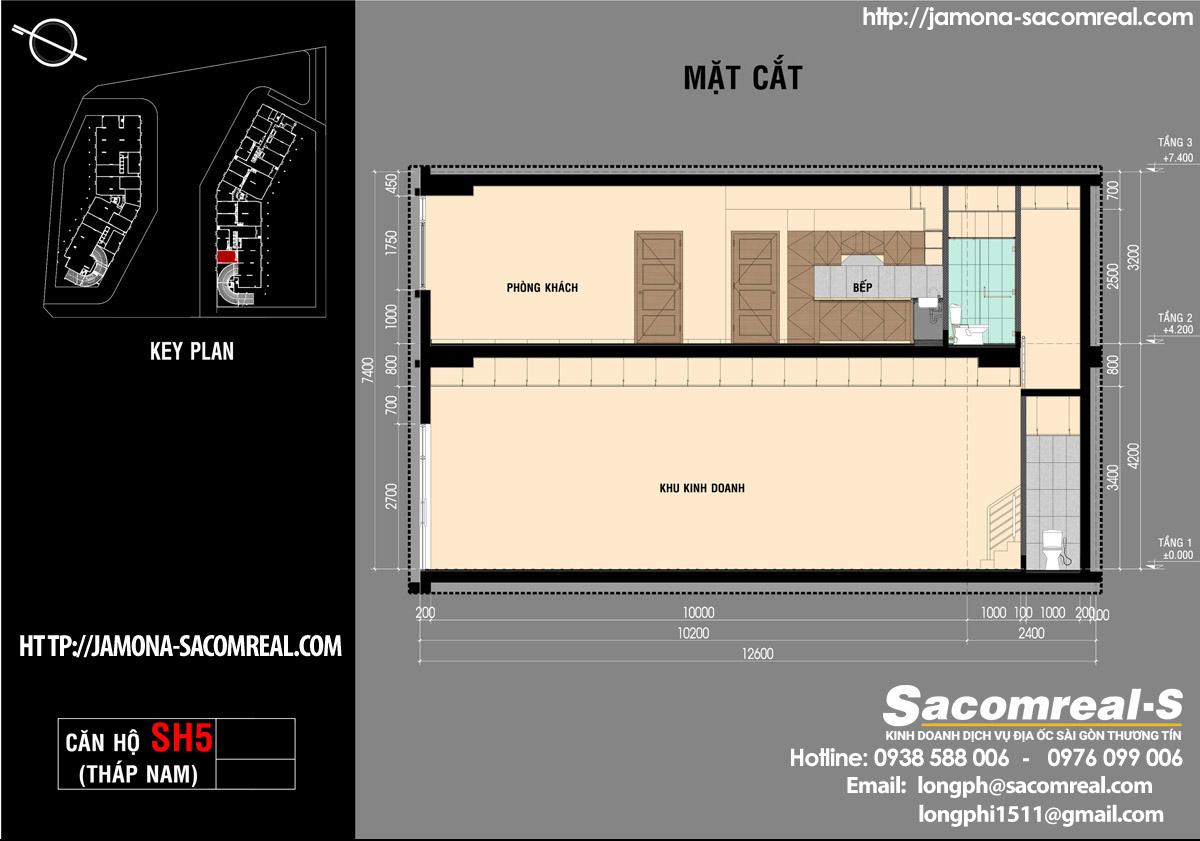 Mặt cắt A-A căn shop (shophouse) SH5 Jamona Apartment THÁP NAM