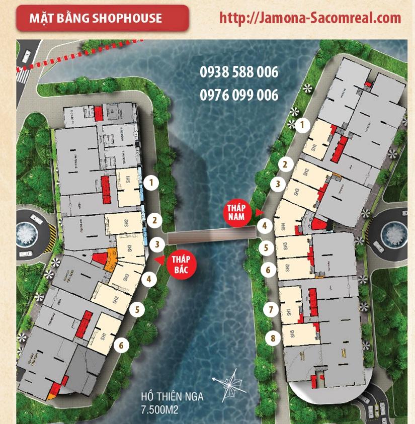 Mặt bằng các căn shop thương mại Jamona apartment trong dự án Jamona City Quận 7 - Sacomreal (TTC Land).