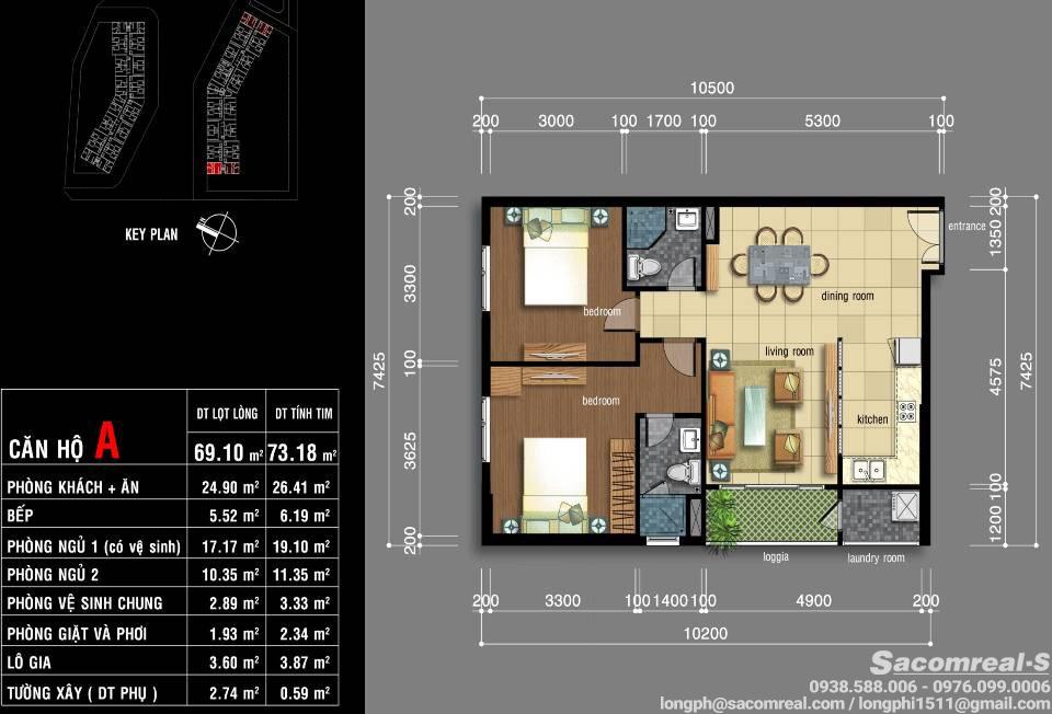 Thiết kế căn hộ góc, 2 phòng ngủ Jamona Apartment