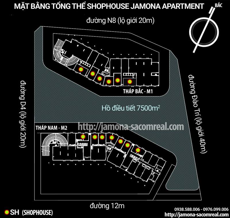 Mặt bằng phân lô shophouse thương mại Jamona Apartment quận 7 - Sacomreal.