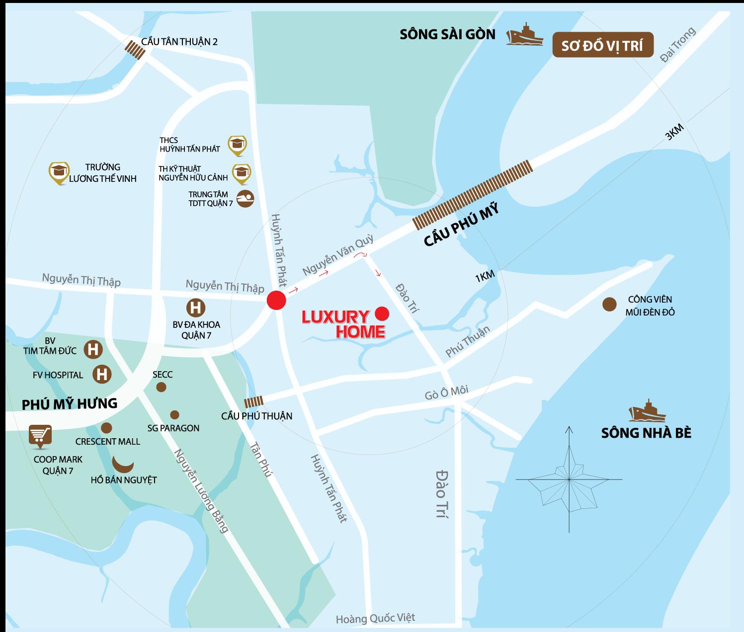 Bản đồ vị trí căn hộ Luxury Home