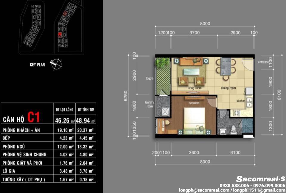 Căn hộ 01 phòng ngủ, 1 phòng khách, 1 phòng ăn, 1 nhà bếp, 1 wc, Jamona Apartment