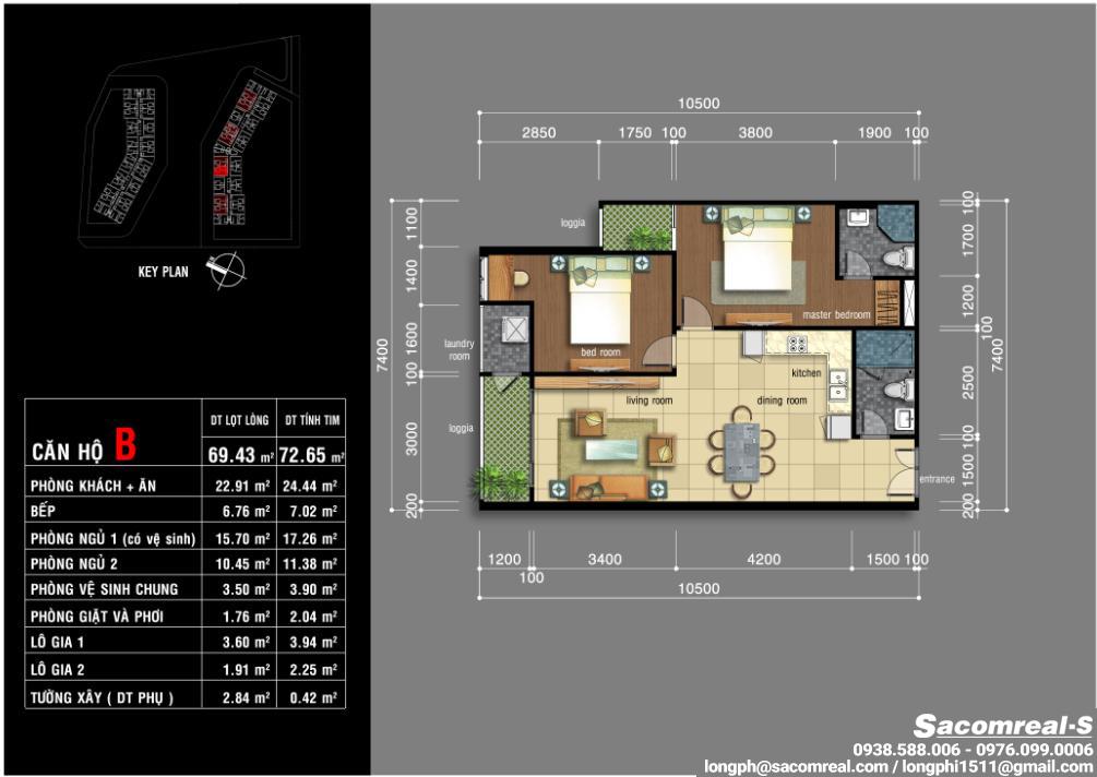 Căn hộ 02 phòng ngủ, 1 phòng khách, 1 phòng ăn, 1 nhà bếp, 2 wc, Jamona Apartment