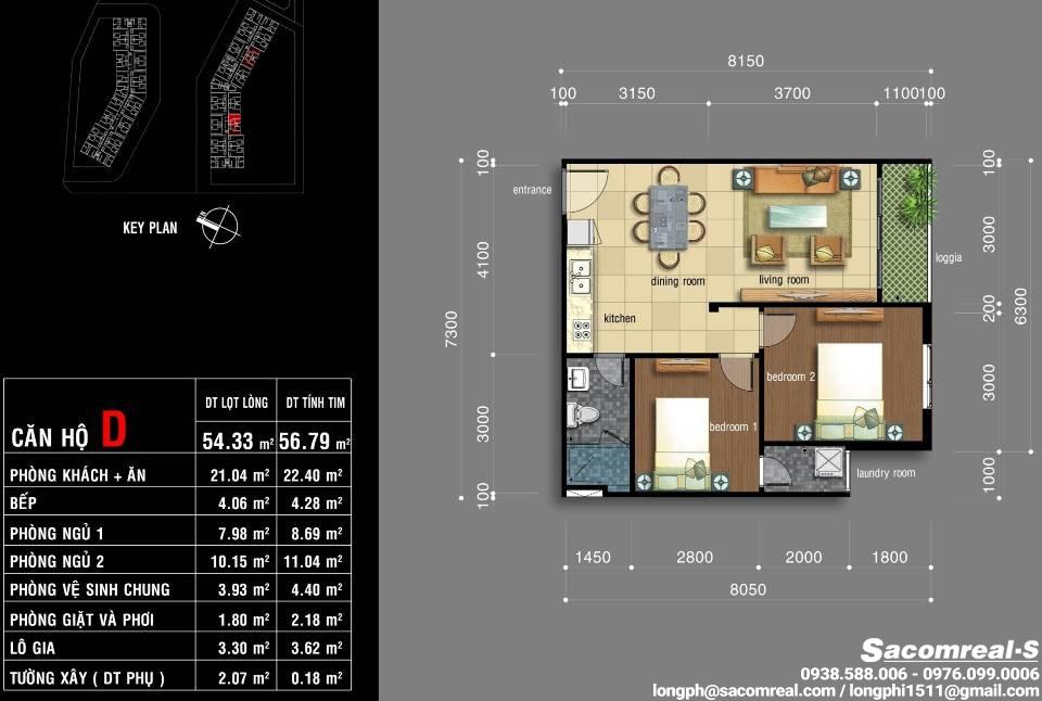 Căn hộ 02 phòng ngủ, 1 phòng khách, 1 phòng ăn, 1 nhà bếp, 1 wc, Jamona Apartment