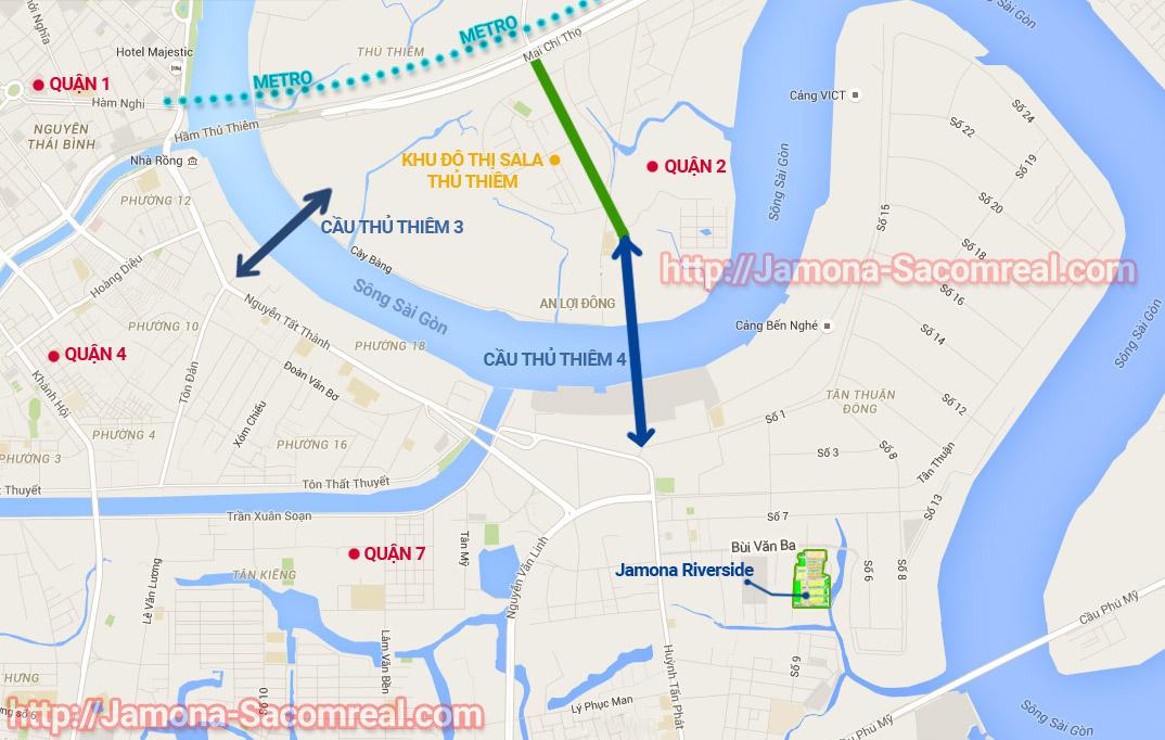 Bản đồ vị trí dự án Jamona Riverside quận 7 Sacomreal