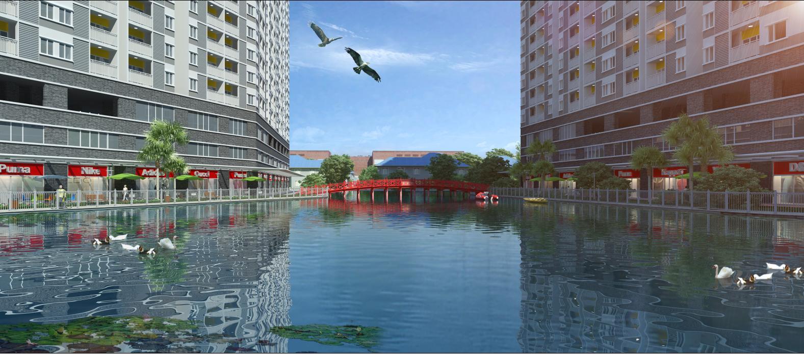Phối cảnh các căn hộ Shop house thương mại view hướng hồ nước trong dự án Jamona Apartment.