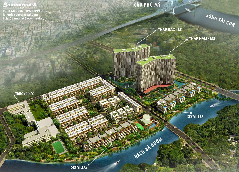 Vị trí Sky Villas trong tổng thể khu dân cư Jamona City
