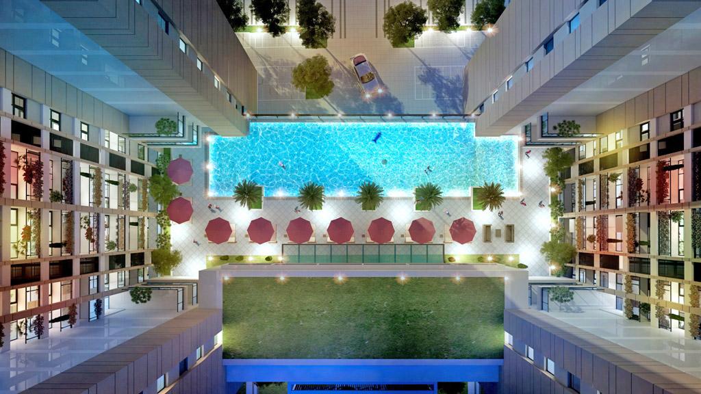 Phối cảnh hồ bơi trung tâm Jamona Golden Silk quận 7.