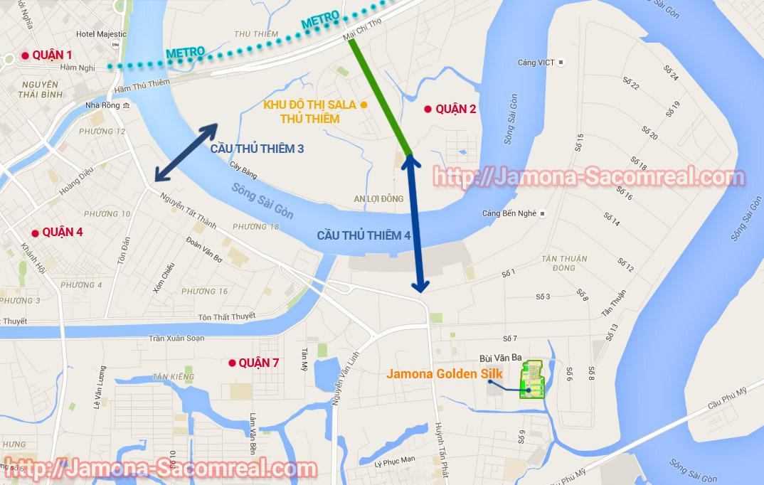 Bản đồ vị trí dự án Jamona Golden Silk quận 7, cầu thủ thiêm 4
