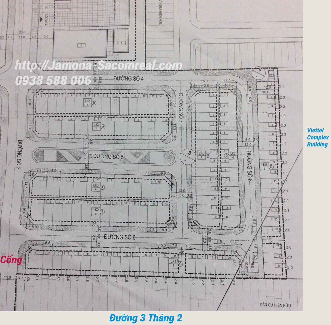 Bản đồ phân lô đất nền dự án Hà Đô 756 Sài Gòn