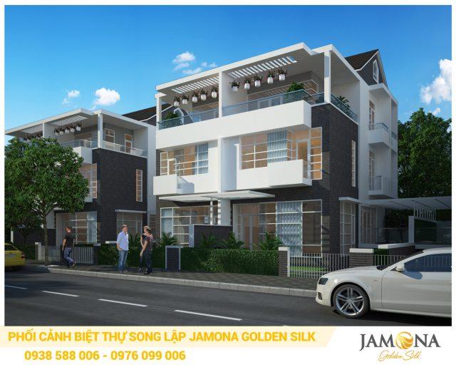 Phối cảnh biệt thự song lập trong dự án Jamona Golden Silk