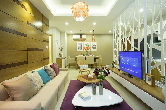 Căn hộ Luxury Home 2 phòng ngủ với diện tích vừa phải phù hợp với những khách hàng trẻ, năng động.