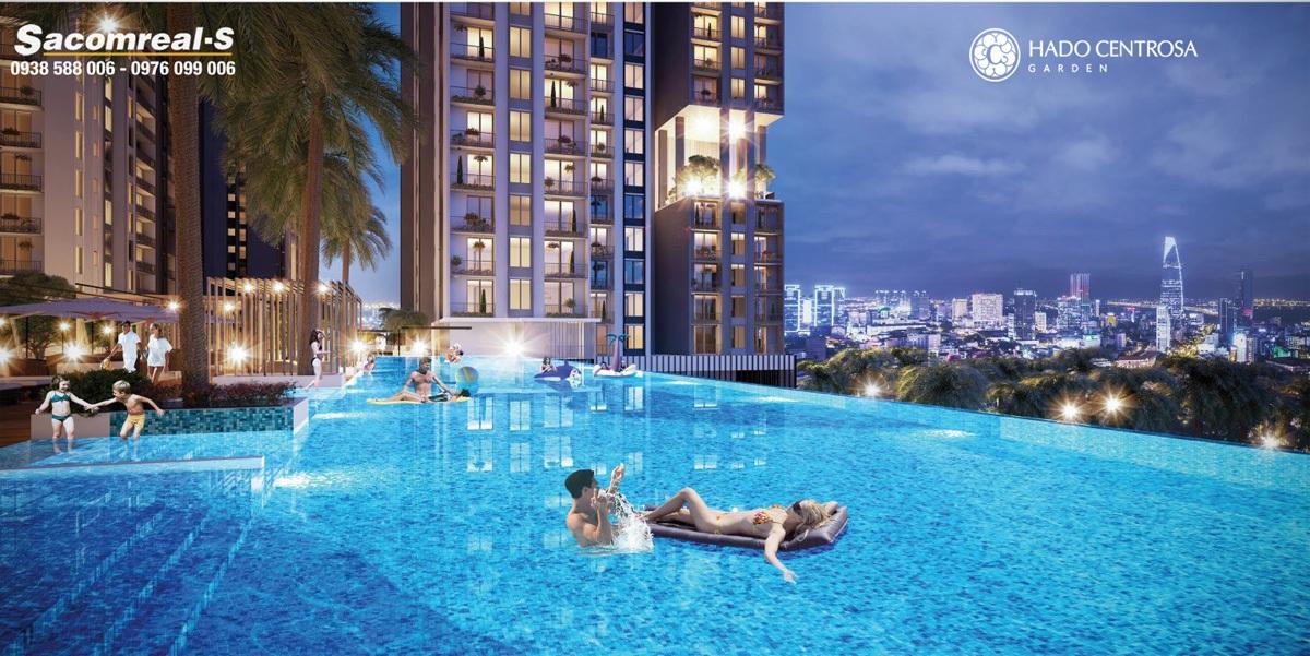 Phối cảnh hồ bơi tràn với tầm view nhìn tuyệt đẹp tại căn hộ Hà Đô Centrosa Garden.