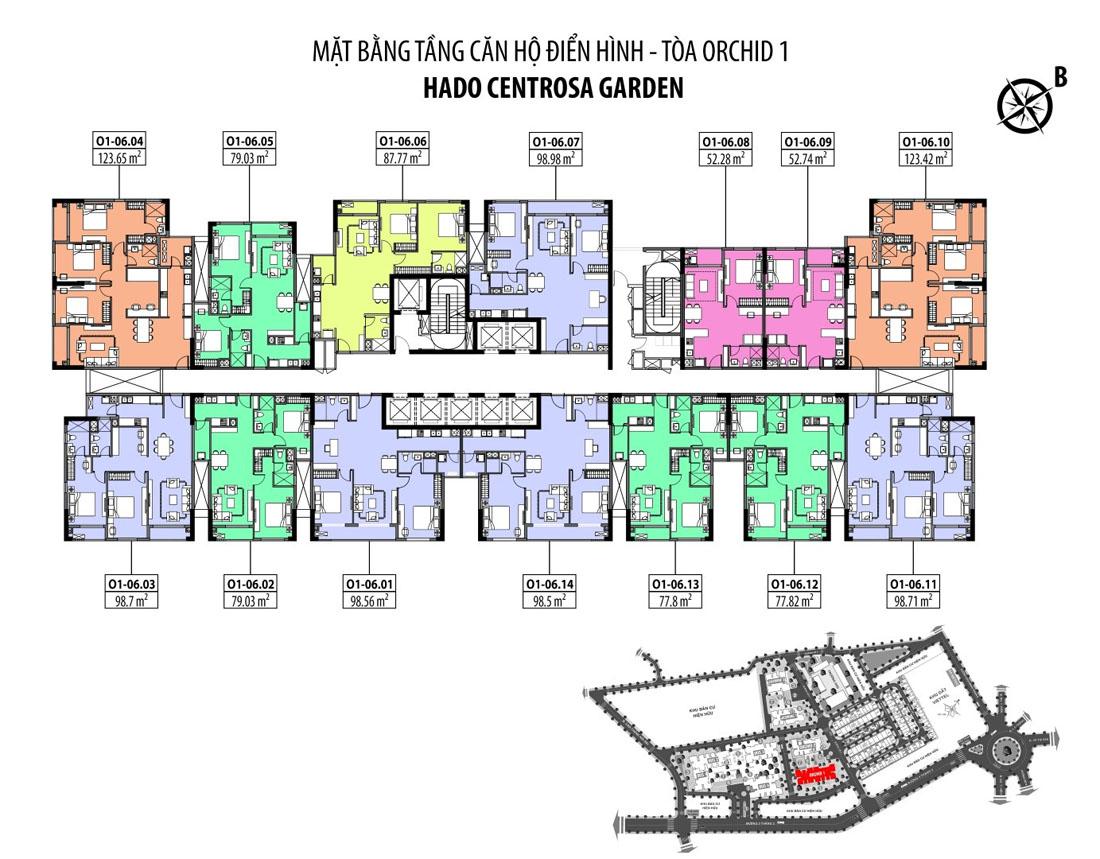 Mặt bằng tầng điển hình block Orchid 1 dự án căn hộ Hà Đô Centrosa Garden