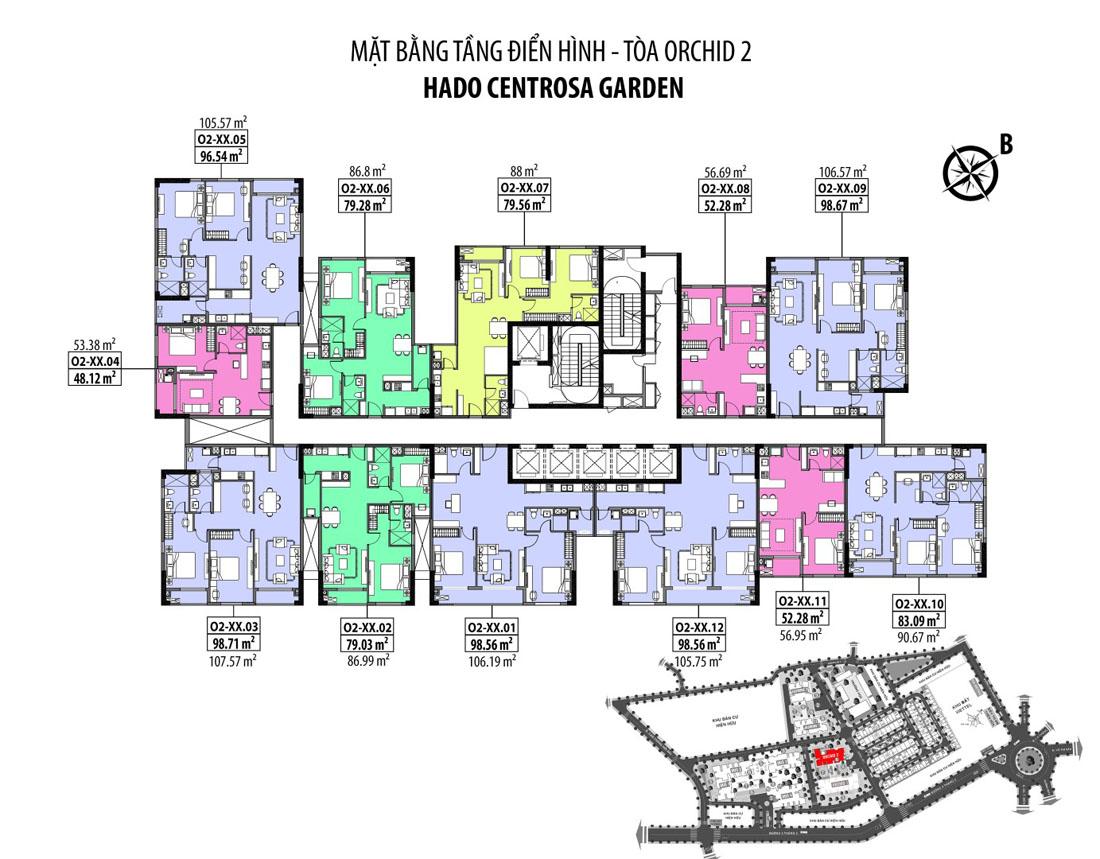 Mặt bằng tầng điển hình block Orchid 2 dự án căn hộ Hà Đô Centrosa Garden