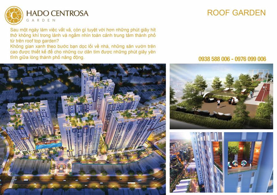 Vườn xanh trên sân thượng tòa nhà (Roof garden) Hà Đô Centrosa Garden.