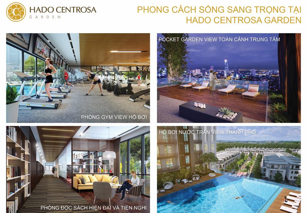 Tiện ích phòng gym, vườn trên cao, thư viện cùng hồ bơi tràn tại dự án Hà Đô Centrosa Garden.