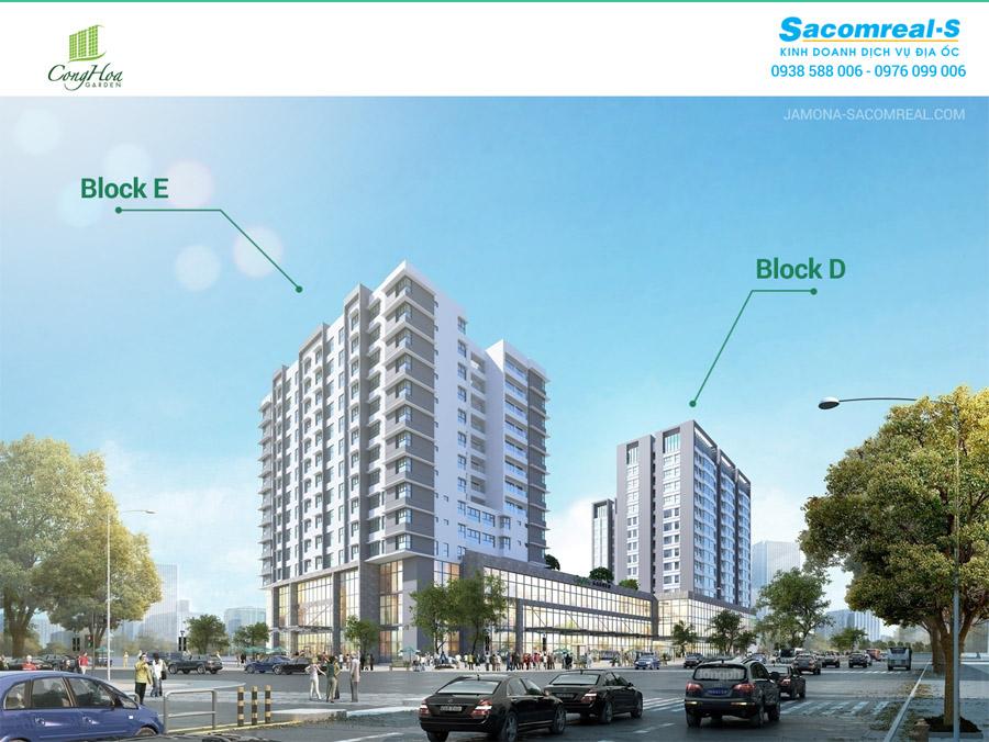 Vị trí Block E và Block D dự án chung cư Cộng Hòa Garden Tân Bình.