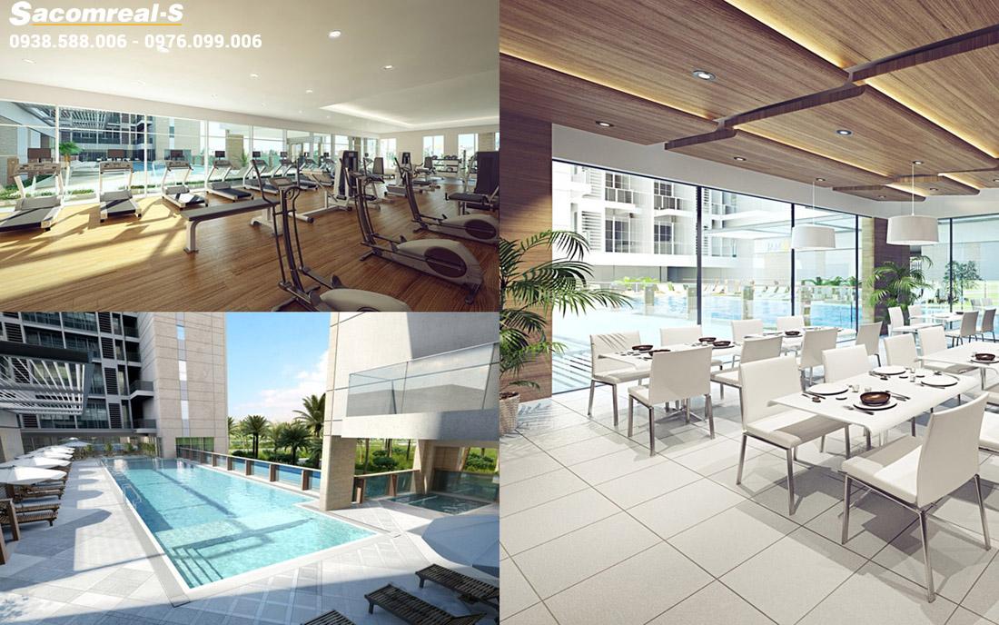 Tiện ích cao cấp: phòng GYM, hồ bơi, nhà hàng sang trọng tại dự án Golden Silk Apartment