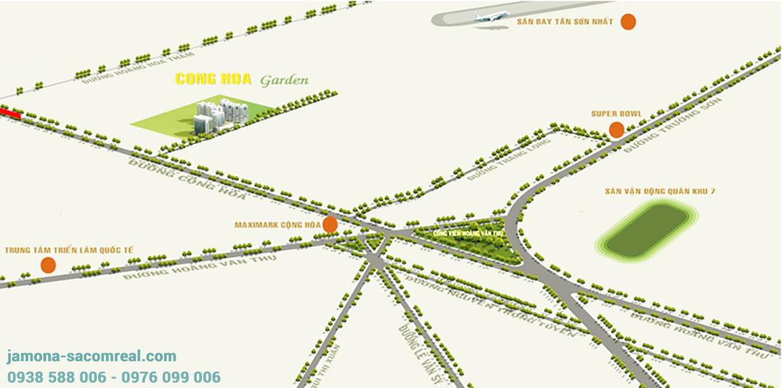 Vị trí căn hộ Cộng Hòa Garden Tân Bình