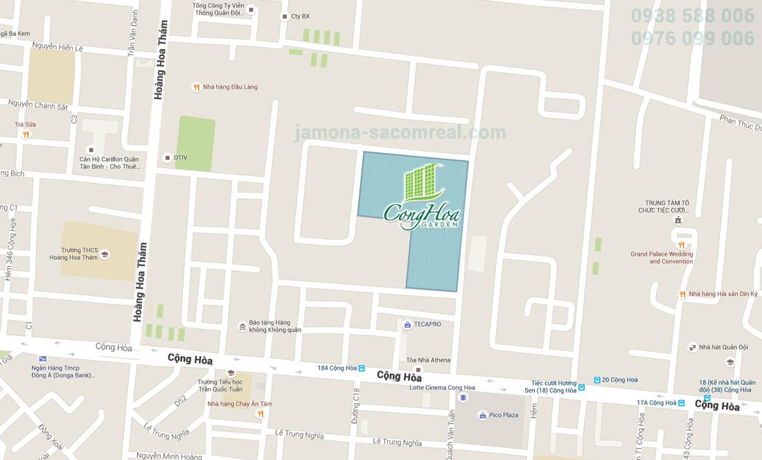 Bản đồ vị trí dự án Cộng Hòa Garden Tân Bình.