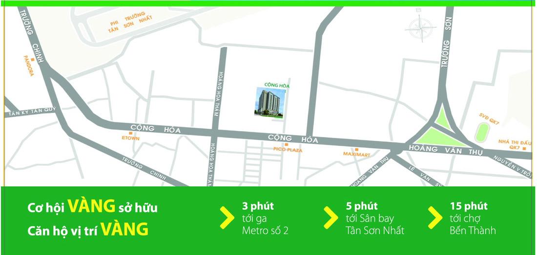 Vị trí vàng của căn hộ Cộng Hòa Garden Tân Bình.