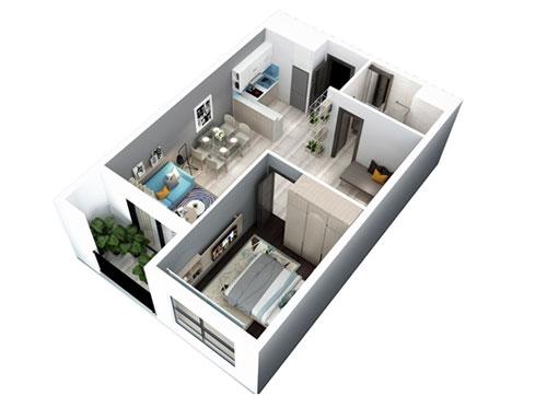 Căn hộ 1 phòng ngủ Hà Đô Centrosa Garden quận 10.