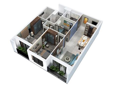 Căn hộ 2 phòng ngủ Hà Đô Centrosa Garden quận 10.