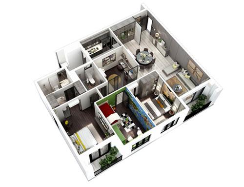 Căn hộ 3 phòng ngủ Hà Đô Centrosa Garden quận 10.