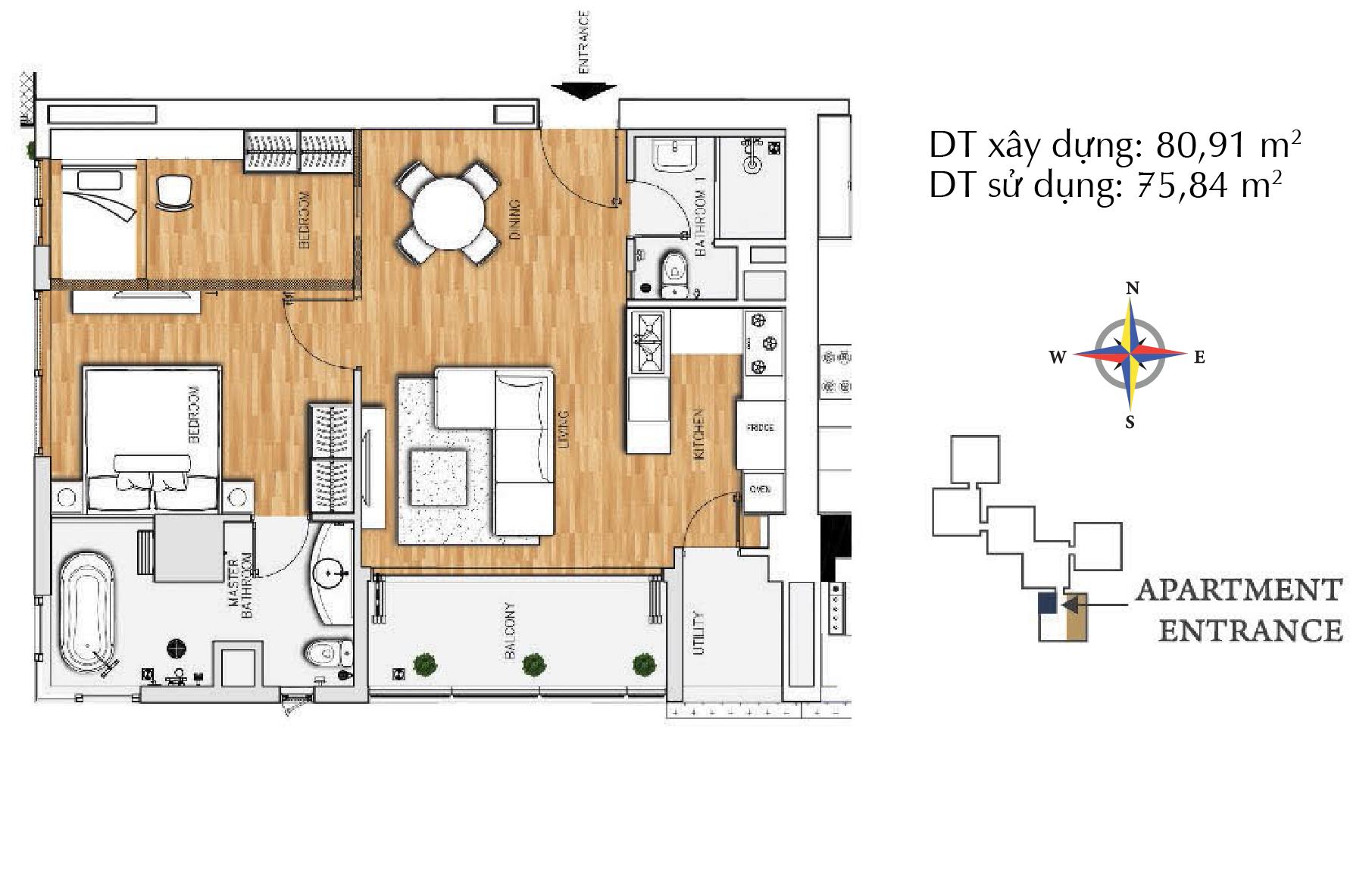 Căn hộ 1 phòng ngủ E1- tháp The Brilliant.