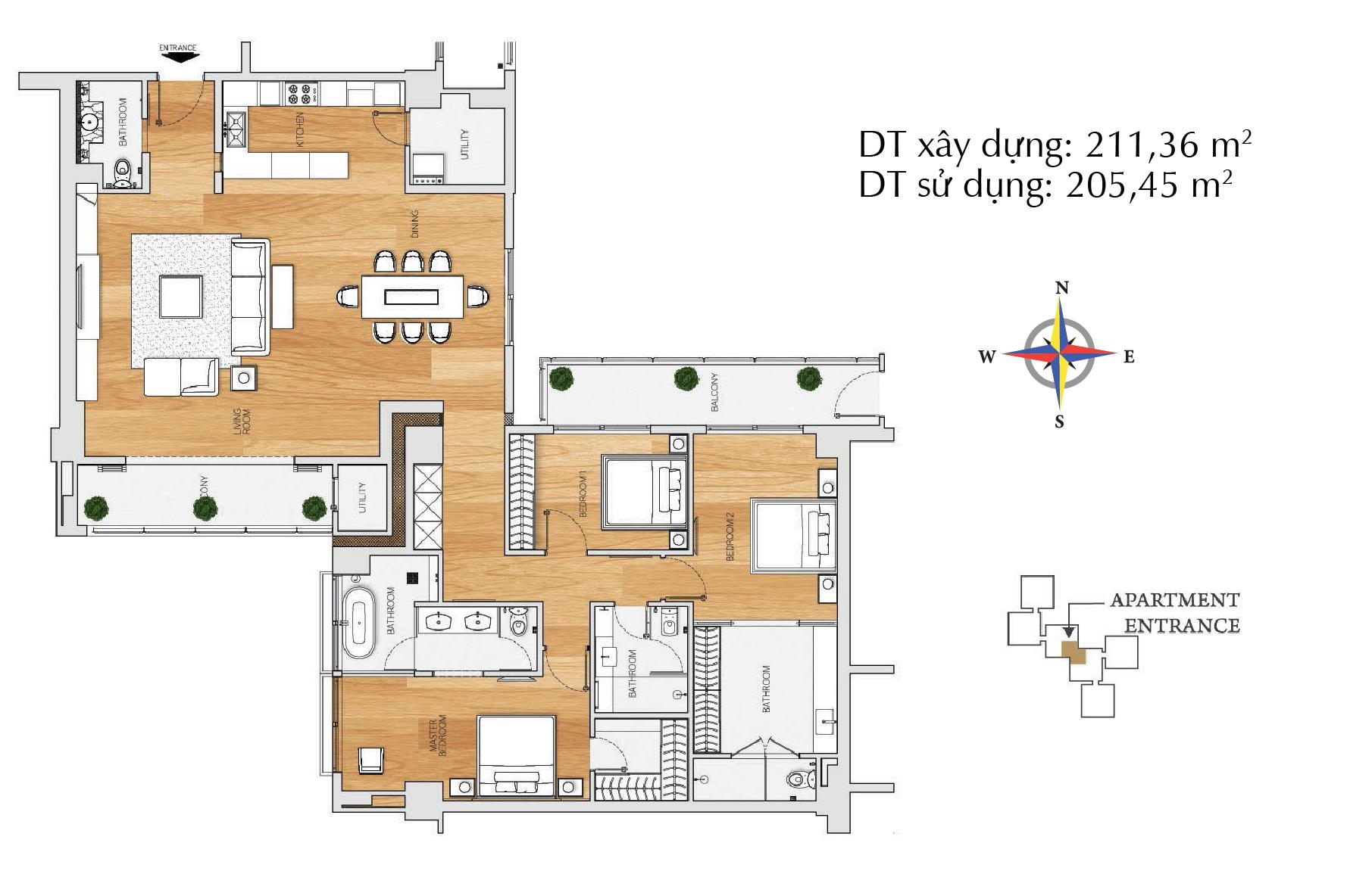 Căn hộ 3 phòng ngủ B3 - tháp The Brilliant.