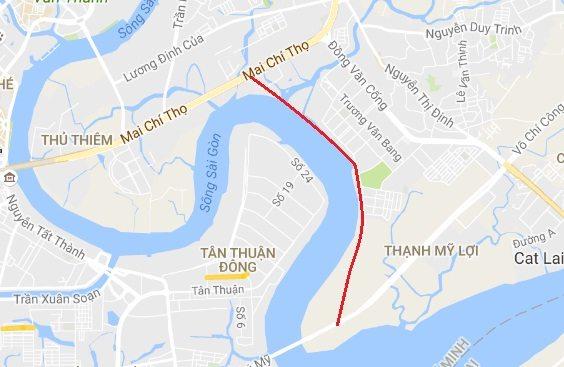 Đường ven sông quận 2 từ Thạnh Mỹ Lợi đến Mai Chí Thọ đi qua Đảo Kim Cương.