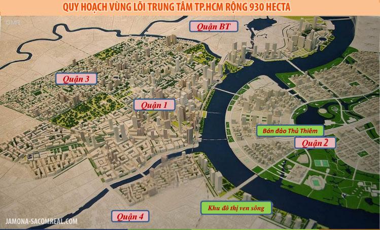 Bản đồ quy hoạch vùng lõi trung tâm TP.HCM quy mô 930 hecta.